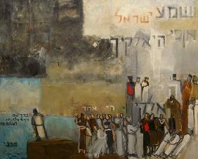 Sh''ma Yisroel, 2000 (oil & collage on canvas)