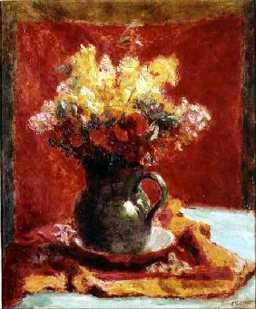 Green Jug with Flowers (oil on canvas)