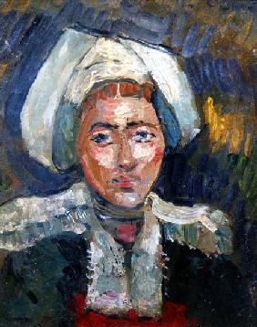 Head of a Breton Woman (oil on panel)