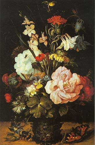 vase mit blumen roelant jakobsz savery als kunstdruk of als handgeschilderd olieverfschilderij. Black Bedroom Furniture Sets. Home Design Ideas