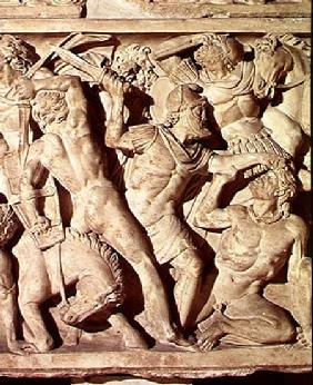 Detail of a sarcophagus depicting a battle between Romans and Galatians