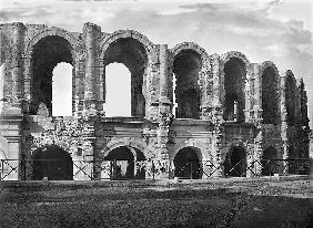 Exterior view of the amphitheatre (stone) (b/w photo)