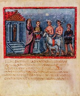 Lat 3225 f.33v Dido making a sacrifice, from The Vergilius Vaticanus