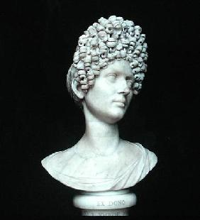 Portrait bust of a Roman woman at the time of Flavius