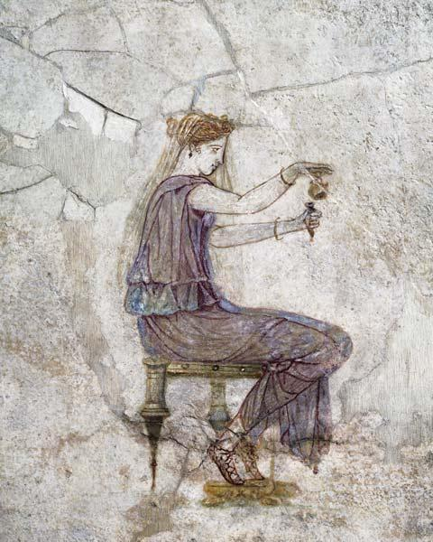 Woman Pouring Perfume into a Phial