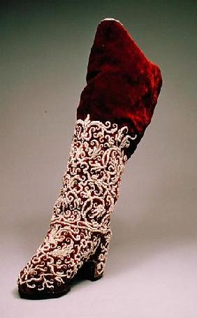 Lady''s boot, 1650-1700 (leather and velvet with pearls)