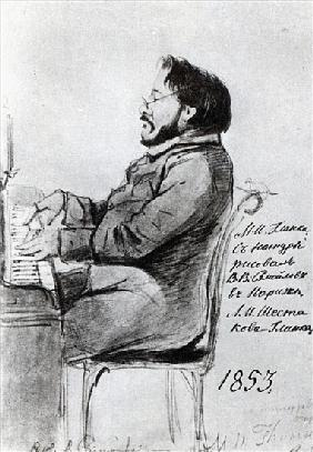 Mikhail Glinka, 1853 (pen & ink with wash on paper)