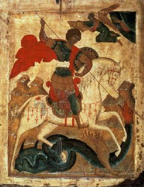 St. George and the Dragon (tempera on fabric, gesso, and