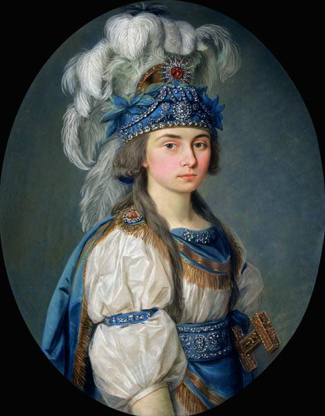 The actress and singer Praskovya Zhemchugova (1768-1803) as Eliane in Andre Gretry''s opera ''Les ma