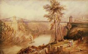 View of the Avon Gorge with the approved design for the Clifton Suspension Bridge