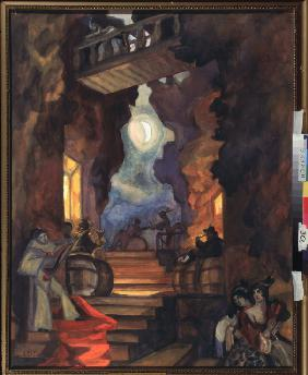 Stage design for the mime show Colombina's Scarf by A. Schnitzler