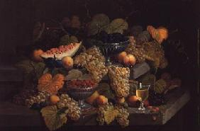 Still Life of Melon, Plums, Grapes, Peaches, Cherries, Strawberries etc on Stone Ledges