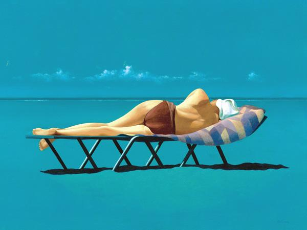 Sunbather (oil on canvas)