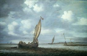 Ships in an Estuary (oil on canvas)