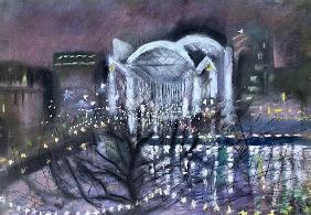 Embankment Station, from the South Bank, 1995 (pastel on paper)