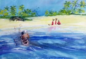 Candolim Beach, Goa, India, 1998 (oil on paper)