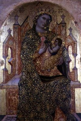 Madonna and Child Enthroned (tempera on panel)
