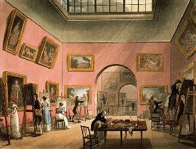 Students learning to paint and making copies of pictures at the British Institution, Pall Mall, from
