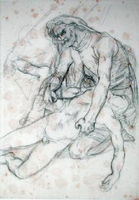 A Father Holding the Body of his Son, study for The Raft of the Medusa cil on