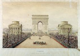 Entry of Napoleon III into Paris, through the Arc de Triomphe, on 2nd December 1852 (w/c and engravi