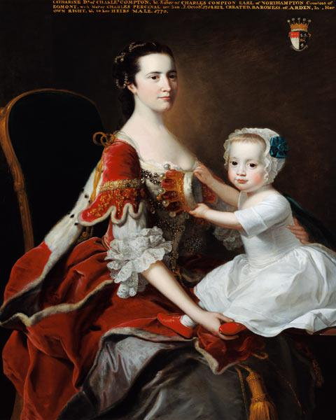 Portrait of Catherine Compton (d.1784) Countess of Egmont and her Eldest Son Charles Perceval (b.175