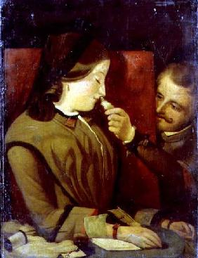 Man Tickling a Woman's Nose with a Feather