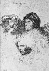 Three female heads with one sleeping