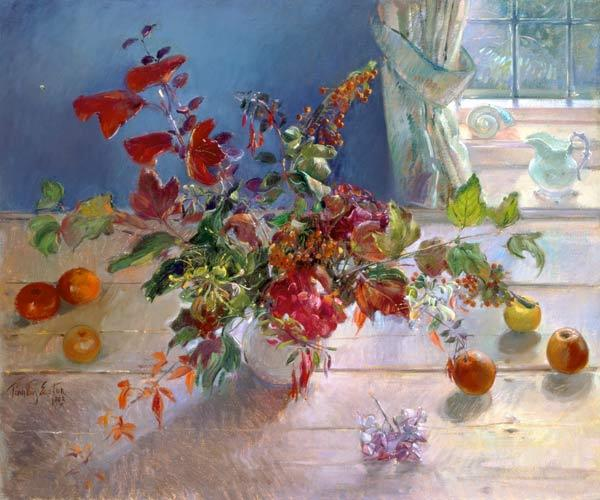 Honeysuckle and Berries, 1993 (oil on canvas)