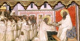 St. Benedict hands over the Rule of the New Order to the Monks of Monte Cassino (tempera on panel)