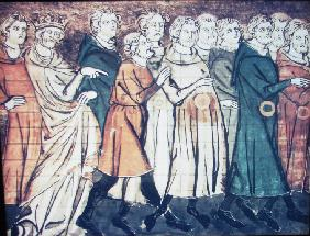 The expulsion of Jews from France in 1182 (A miniature from Grandes Chroniques de France)