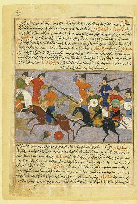 Battle between the Mongol and Jin Jurchen armies in north China in 1211. Miniature from Jami' al-taw