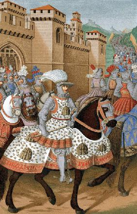 Louis XII of France riding out with his army to chastise the city of Genoa, 24 April 1507