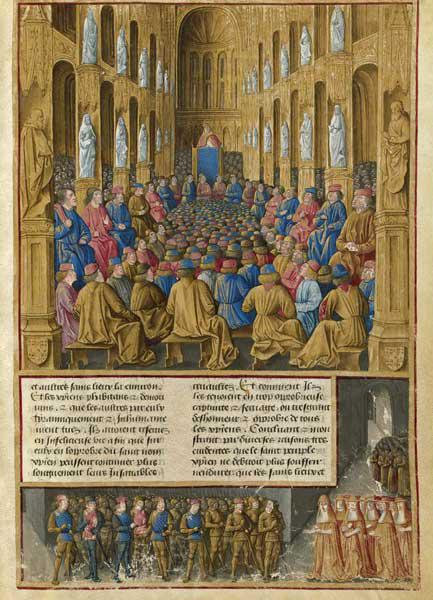 Pope Urban II at the Council of Clermont in 1095. Miniature from Livre des Passages d'Outre-mer