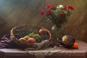 Still life with Fruit and Roses