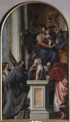 Madonna and Child Enthroned, St. John the Baptist as a Boy, St. Joseph, St. Jerome, St. Justinia and
