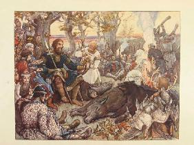 Rest of Grand Prince Vladimir II Monomakh on the Hunt. (The Imperial Hunt in Russia by N. Kutepov)