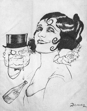 Caricature on actress of silent movies Pola Negri