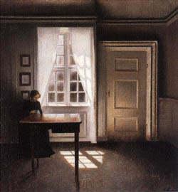 Interieur kunst  Vilhelm Hammershoi Alle kunstdrukken & schilderijen van KUNSTKOPIE.NL