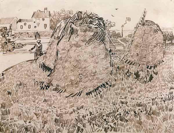 V.v.Gogh, Haystacks / Drawing / 1888