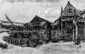 The fish drying barn at Scheveningen, c.1882