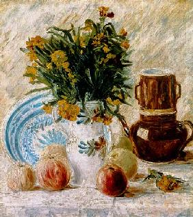 Vase of flowers with a coffee pot and fruit