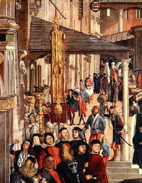 Street Scene, detail from The Miracle of the Relic of the True Cross on the Rialto Bridge, 1494 (oil
