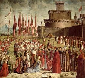 The Pilgrims Meet Pope Cyriac before the Walls of Rome, from the St. Ursula Cycle, 1498 (oil on canv