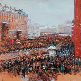 Mass Demonstration in Moscow in 1917