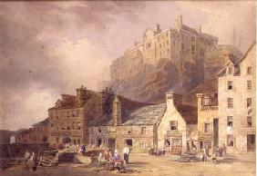 Edinburgh Castle from the Grass Market, showing the Little West Port